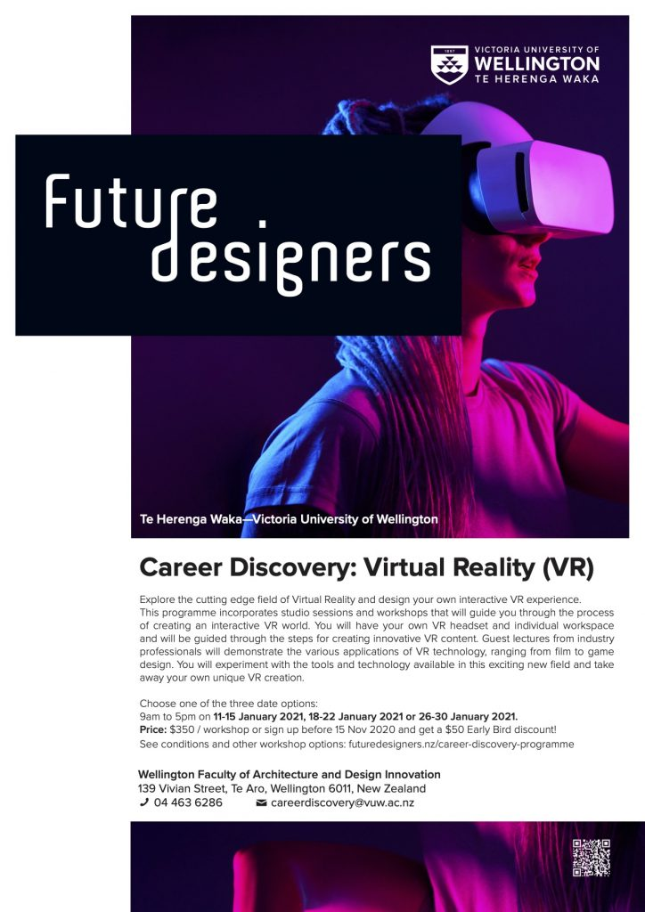 Future Designers poster with a person wearing virtual reality headset